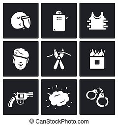 Vector Set of Special Forces Icons Uniform, Soldier,...