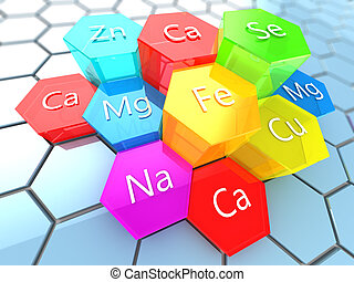 nutrition minerals - abstract 3d illustration of nutrition...