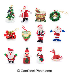 Collection of Christmas Ornaments on White Background