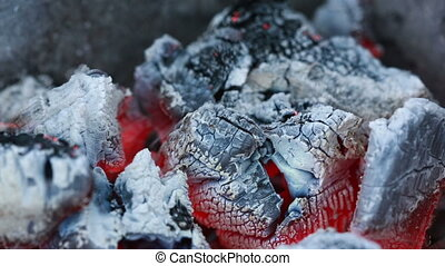 live coals. smoldering charcoal barbecue. ash and fire