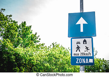 One way europe traffic sign - Shot to two traffic signs with...