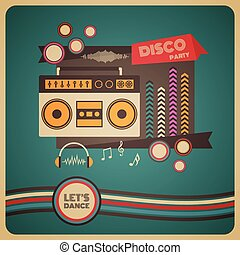 boombox disco party poster - boombox disco party, retro and...