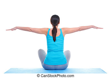 Woman doing yoga balance