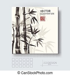 Traditional sumi-e background with bamboo - Traditional...