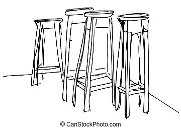 four high wooden stool - black and white vector sketch four...