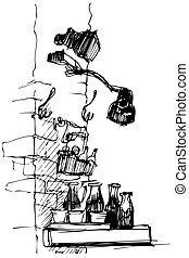 vector sketch of the lamp on a brick wall of bottles