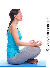 Woman side lotus position