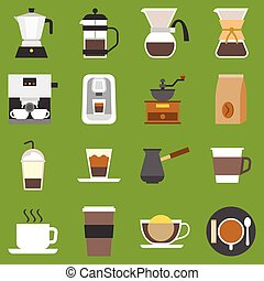 vector coffee method and type of coffee, flat design
