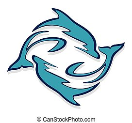 Logo with dolphins.  - A logo with blue dolphins in a jump.