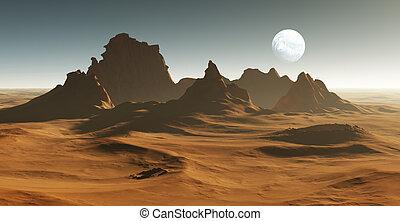 3D Fantasy desert landscape with crater
