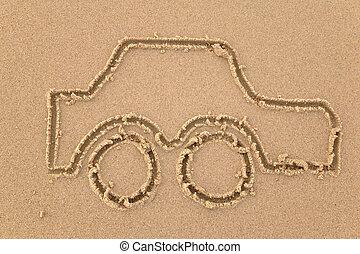 coche, arena, dibujo