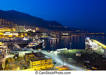 Monaco at night - View of Monaco harbor at night