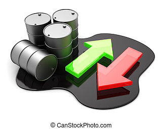oil trading - 3d illustration of oil price arrow indicators,...