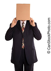 Box man reveal - Businessman about to reveal himself from...