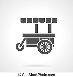Black food cart glyph style vector icon - Black cart for...