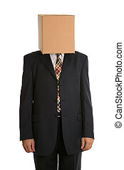 Box man standing - An anonymous businessman with a box on...