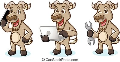 Burly Wood Mascot with laptop, phone and tools