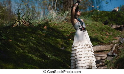 Photographer work with model outdoor