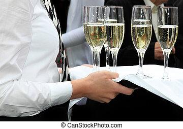 cameriera, servito, champagne, champagne, ricezione