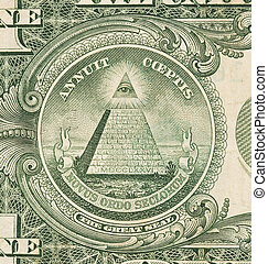 US one Dollar bill, close up, great seal - US one Dollar...
