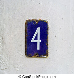 Number 4 - enameled house number four