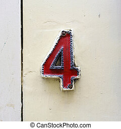Number 4 - ceramic house number four