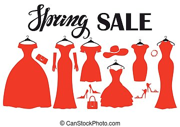 Red party dresses Silhouette.Fashion sale.Spring