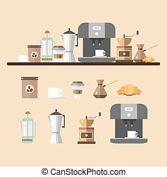 Set of coffee devices in flat style. Coffee icons - vector illustration. Set for coffee shop. Device for making coffee.