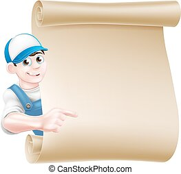 Pointing plumber scroll - A pointing cartoon mechanic,...