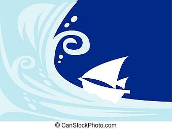 Tsunami wave with sailing boat - Vector illustration of a...