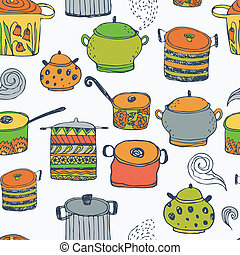 Cute cooking pots and lettering Seamless vector pattern...