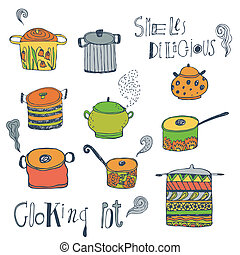 Cute cooking pots and lettering Outline vector set Trendy...