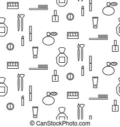 Makeup objects and products seamless pattern Outline thin...