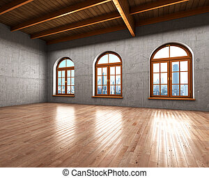 Large spacious room with concrete walls and large windows....