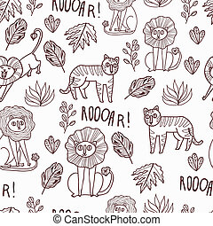 Maharaja Garden seamless vector pattern Fun wild jungle...