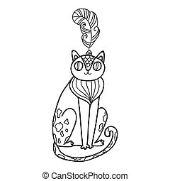 Maharaja Garden wild cat for coloring. Adult coloring page.