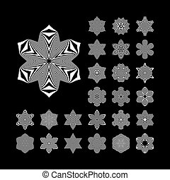 Black and White Abstract Design Elements Optical Art Vector...