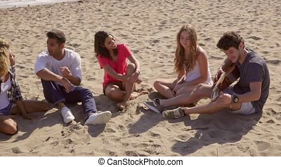Five good looking friends sitting on a sandy beach while one...