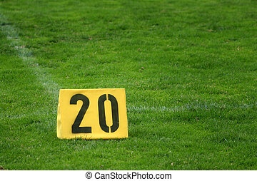 Twenty yard mark - Mark of twenty yards on american football...