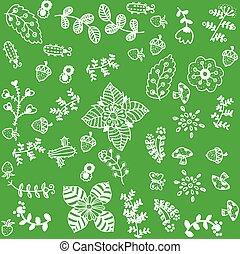 Vector set of flower doodle art