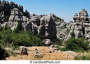 Karst landscape, Antequeara - View of Karst mountains in El...
