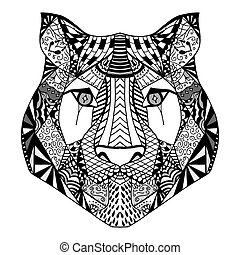 Tiger head sketch - Tiger head. Adult antistress coloring...