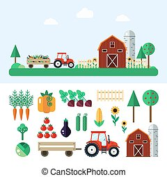 Farm with tractor, vegetables, barn