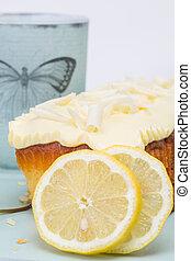 juicier lemon cake - set with lemon cake and lemon slices on...