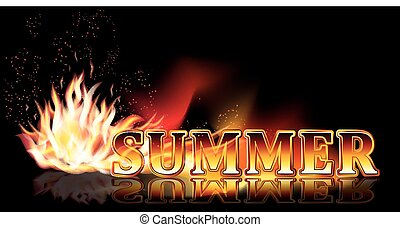 Summer time fire banner, vector