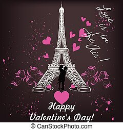 Greeting Valentines Day card with Eifel tower couple and...