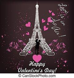 Powitanie, list miłosny, Dzień, Karta, Z, Eifel, wieża,...