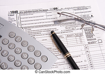Federal Tax Form Calculator and Pen - Objects for filling...