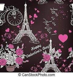 Seamless, rommantic, tło, Z, Eifel, wieża, Róże,...