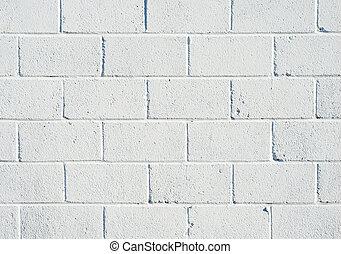 Whitewashed breezeblock wall close up